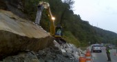 JWC removed fallen boulder from WV Route 2 hill side under an emergency contract with the West Virginia DOH