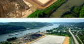 Top Photo: Shows completion of grading work for coal storage area, installation of 30 mil liner and limestone cover proceeding from South to North. Bottom Photo shows completion of entire coal storage area. (Aerial photos by fawcettsflyingfotos.com)